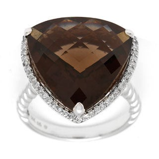 14k White Gold 1/4ct TDW Smokey Quartz and Diamond Ring (H-I, SI1-SI2)