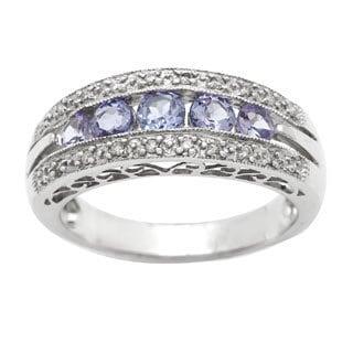 14k White Gold Round-cut Tanzanite and Diamond Ring