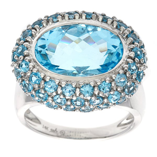 14k White gold Sky Blue Topaz Ring