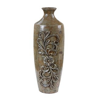 Large Moss Floral Ceramic Vase