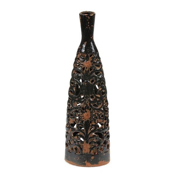 Large Black Ceramic Cutout Vase