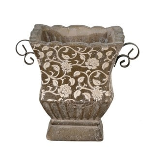 Large Brown Square Ceramic and Iron Floral Pot Decorative Accessory