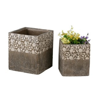 Square Brown 2-piece Ceramic Floral Pots