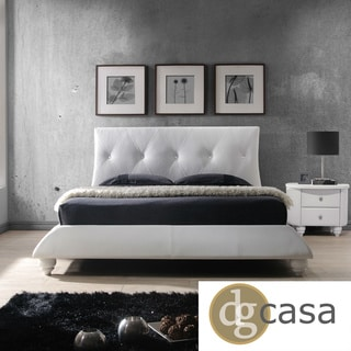 DG Casa Beverly White Tufted Faux Leather Bed