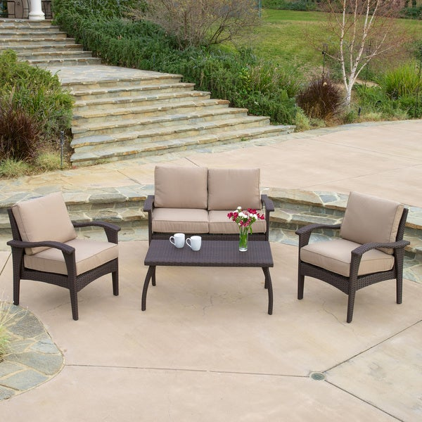 Christopher Knight Home Honolulu Outdoor 4 piece Brown Wicker Seating Set and