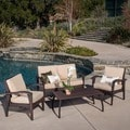 Christopher Knight Home Honolulu Outdoor 4-piece Brown Wicker Seating Set and Cushions