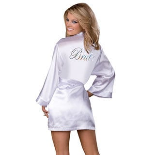 Dream Girl Women's 'Bride' White Robe and Babydoll Set