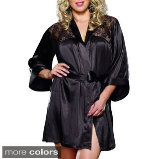 Dream Girl Women's Plus Size 'Sensual Elegance' Charmeuse Robe