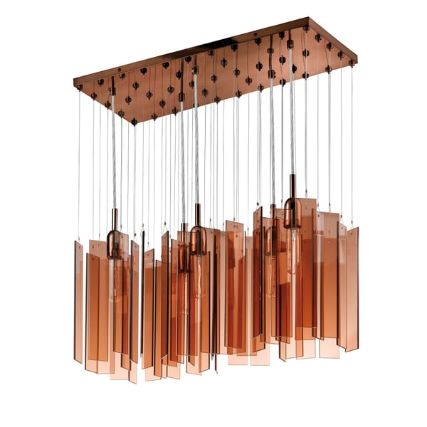Chimes 5-light Polished Bronze Rectanglular Pendant