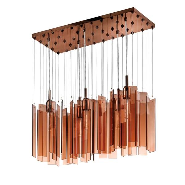 Chimes 5-light Polished Bronze Rectanglular Pendant