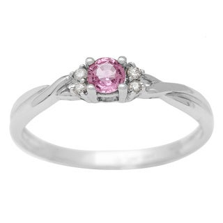 14k White Gold Pink Sapphire and Diamond Accent Ring
