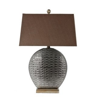 1-light Metallic Grey Ceramic Table Lamp