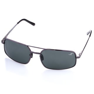 Xezo Men's 'Air Commando' Black Chrome Titanium Polarized Sunglasses