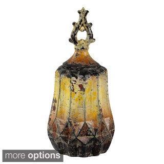 Vintage Yellow Ceramic Vase Decorative Accessory