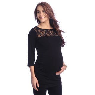 Ashley Nicole Maternity Women's Black Three-quarter Sleeve Top