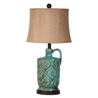 Medium Ceramic Jar 1-light Green Table Lamp