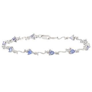 14k White Gold Tanzanite and Diamond Accent Bracelet
