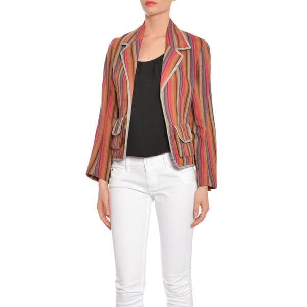 Cynthia Rowley Women's Earth-tone Linen Pinstripe Blazer