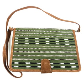 Handmade Olive Green Cotton and Leather Tablet Carry Case (Guatemala)