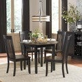 Zachary 5-piece Black/ Brown Round Drop-leaf Dining Set