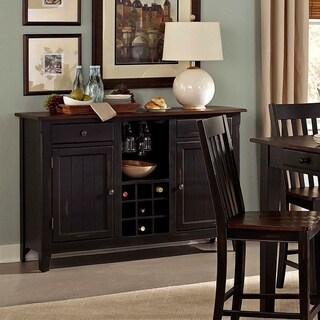TRIBECCA HOME Zachary Black/ Brown Wine Rack Buffet Storage Server