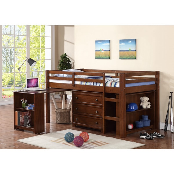 Donco kids kids low loft twin bed with roll out desk Kids loft bed with desk