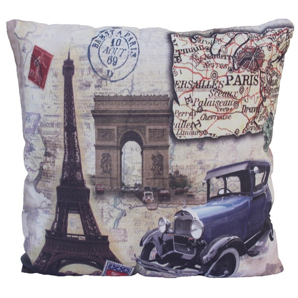 16.5 x 16.5-inch Paris France Themed Throw Pillow - 15951114 - Overstock.com Shopping - Great ...