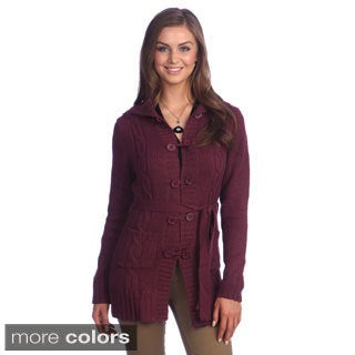 Hadari Women's Button-up Tie Waist Cardigan