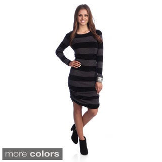 Hadari Women's Striped Tunic Sweater Dress
