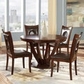 TRIBECCA HOME Miraval 5-piece Cherry Brown Round Dining Set