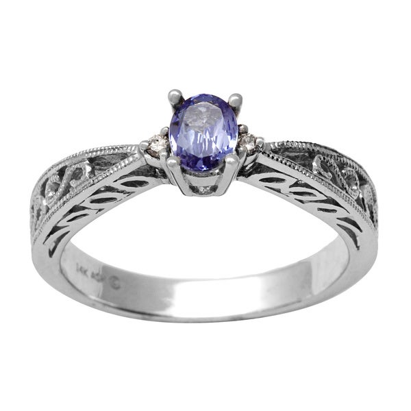 14k White Gold Oval-cut Tanzanite Diamond Accent Ring