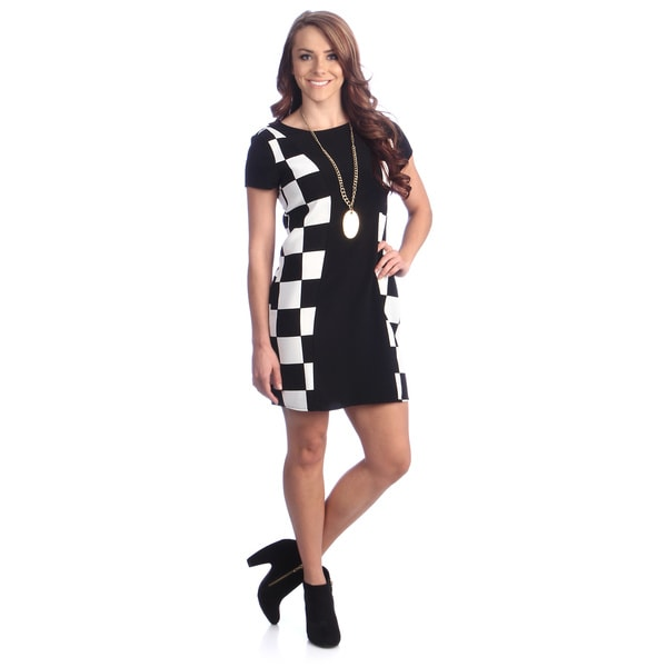 Women's Black and White Colorblocked Mod Dress