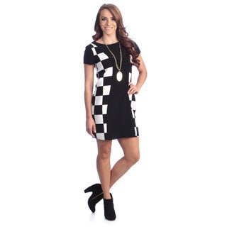 Hadari Women's Black and White Colorblocked Mod Dress