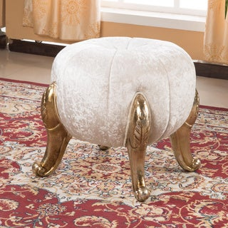 Kantoi Ivory White Round Diamond Luxury Ottoman