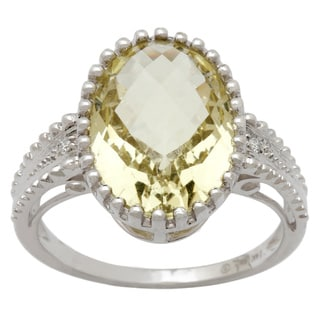 14k White Gold Lemon Quartz and Diamond Accent Ring
