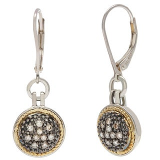 14k Two-tone Gold and Sterling Silver 1/3ct TDW Brown Diamond Earrings (SI1-SI2)