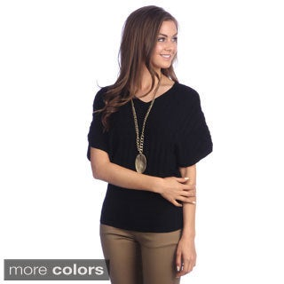Hadari Women's Open-knit Dolman Sleeve Top