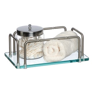 Glass Hand Towel Tray with Satin Nickel Rails