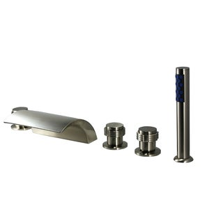 Kokols Brushed Nickel Waterfall Roman Bath Tub Faucet Filler and Hand Shower