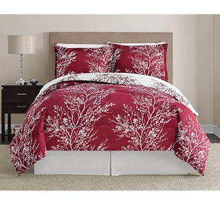 VCNY Red and White Leaf 8-piece Bed in a Bag with Sheet Set