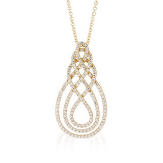 Blue Box Jewels Gold Plated Sterling Silver Premium Cubic Zirconia Twisted Teardrop Necklace