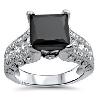 18k Gold 2 4/5ct TDW Certified Black Diamond Engagement Ring (E, VS1-VS2)
