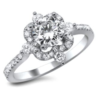 18k White Gold 1ct TDW Certified Diamond Round Cut Engagement Ring (G-H, SI1-SI2)