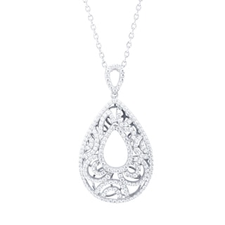 Blue Box Jewels Rhodium Plated Sterling Silver Cubic Zirconia Vintage Teardrop Petals Necklace