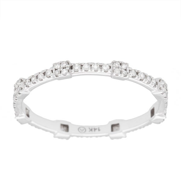Beverly Hills Charms 14k Gold 1/5ct TDW Square Stackable Diamond Eternity Band Ring (H-I, SI2-I1)