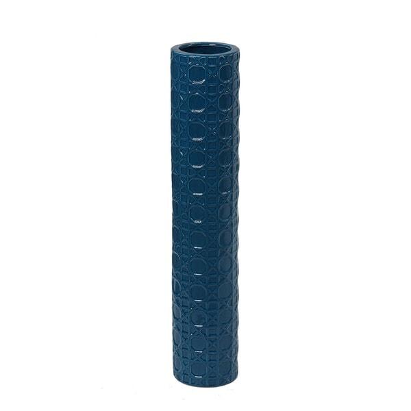 Blue Embossed 24-inch Ceramic Vase