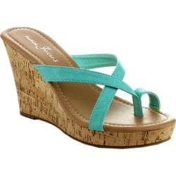 Women's Wild Diva Alicia-13 Teal Faux Leather