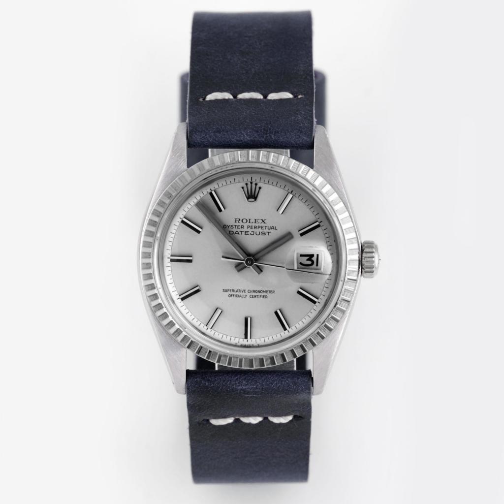 Pre-Owned Rolex Men's Blue Strap Fluted Bezel Datejust Watch