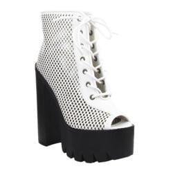 Women's Beston Rocker13 White Faux Leather