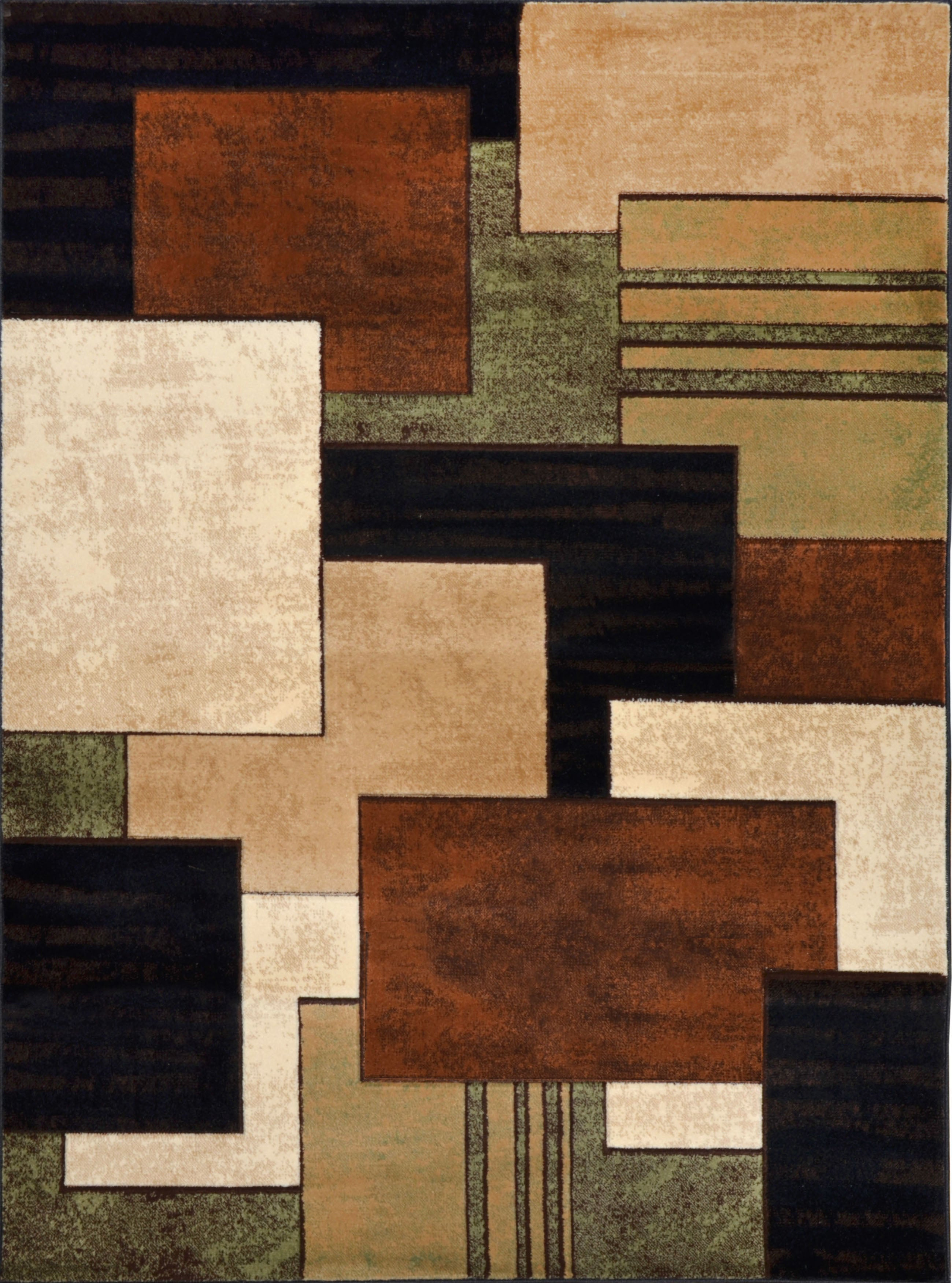 """Downtown Brown/ green Area Rug (7'10"""" x 10'6)"""